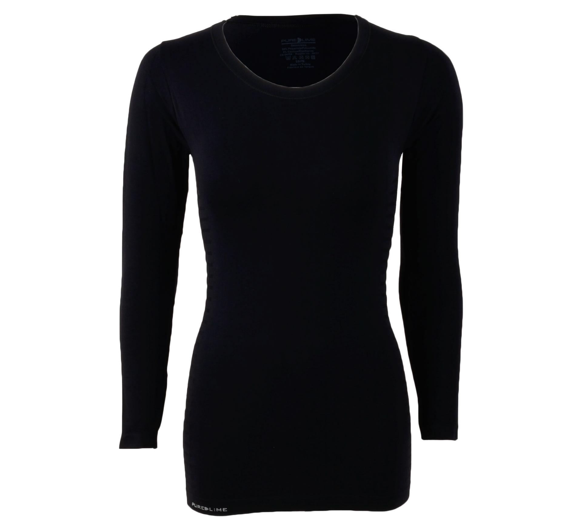 Pure Lime  Naadloos Longsleeve Shirt Dames zwart