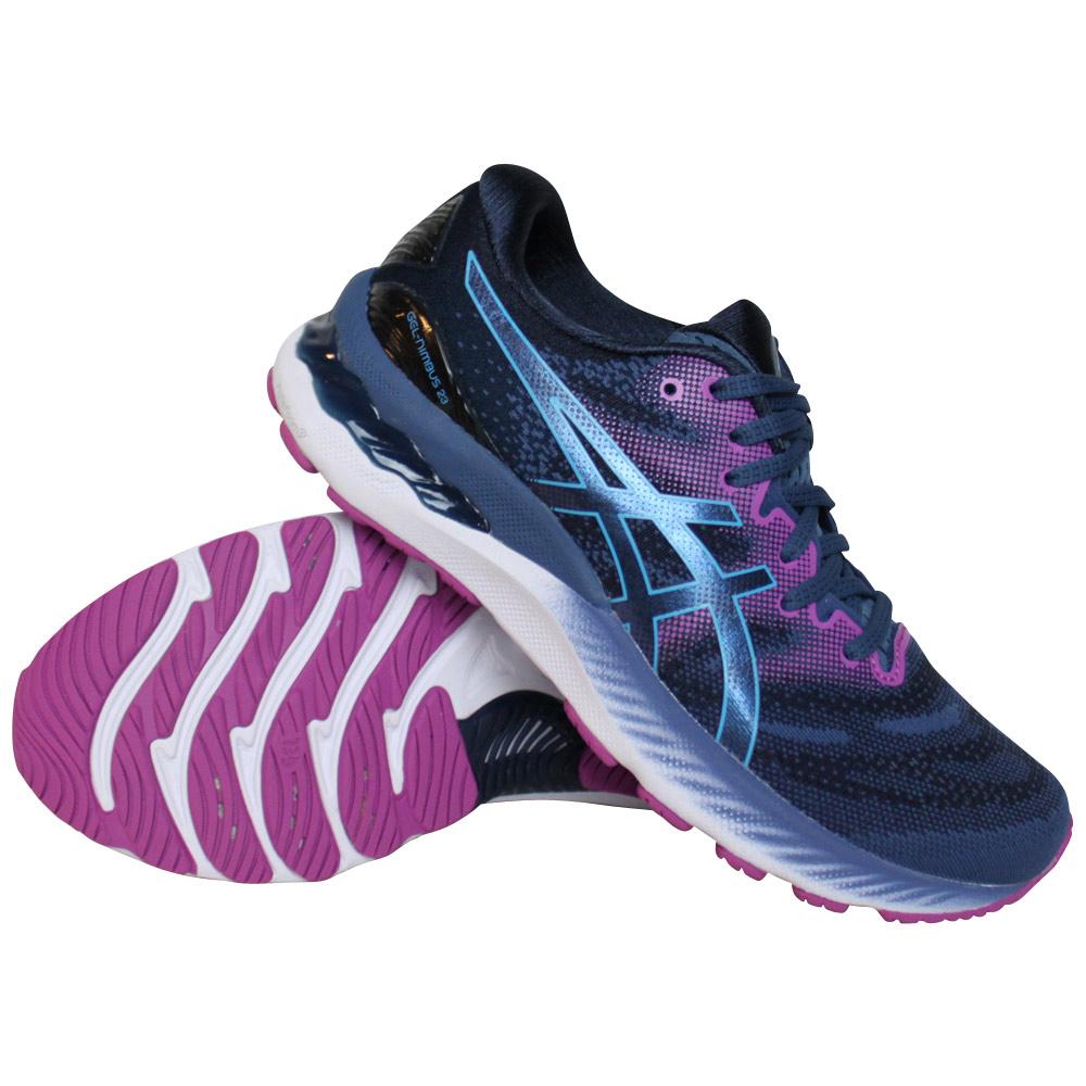 Asics Gel-Nimbus 23 hardloopschoenen dames blauw/roze
