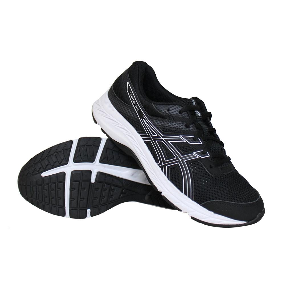 Asics Contend 6 GS hardloopschoenen jongens zwart/wit