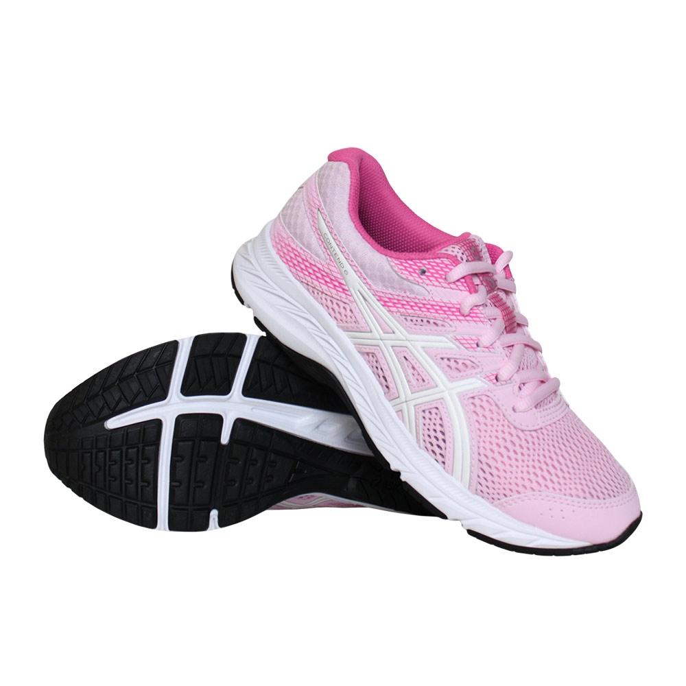 Asics Contend 6 GS hardloopschoenen meisjes roze/wit