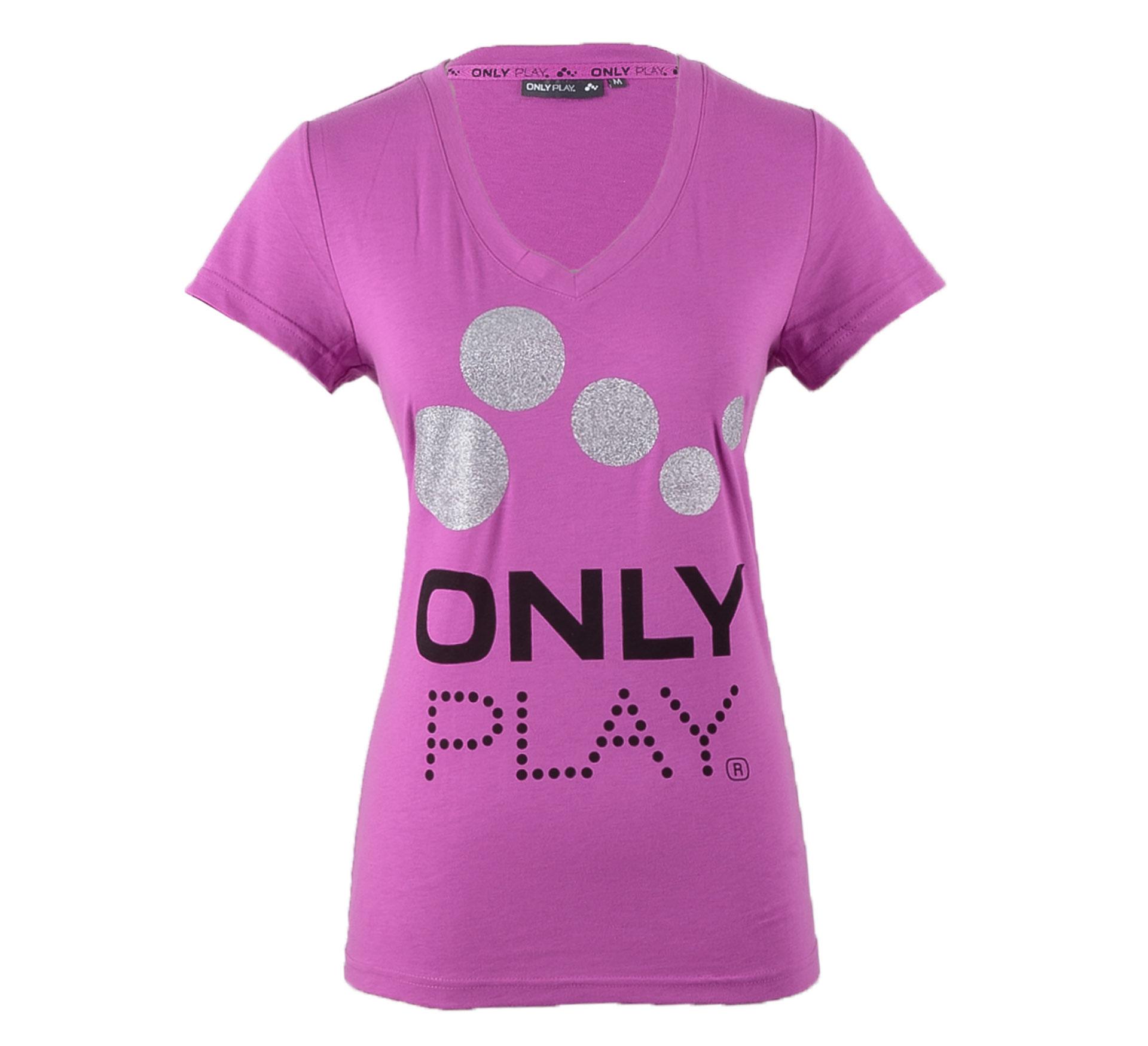 Only Play  Eames T-shirt Dames paars - zwart - zilver
