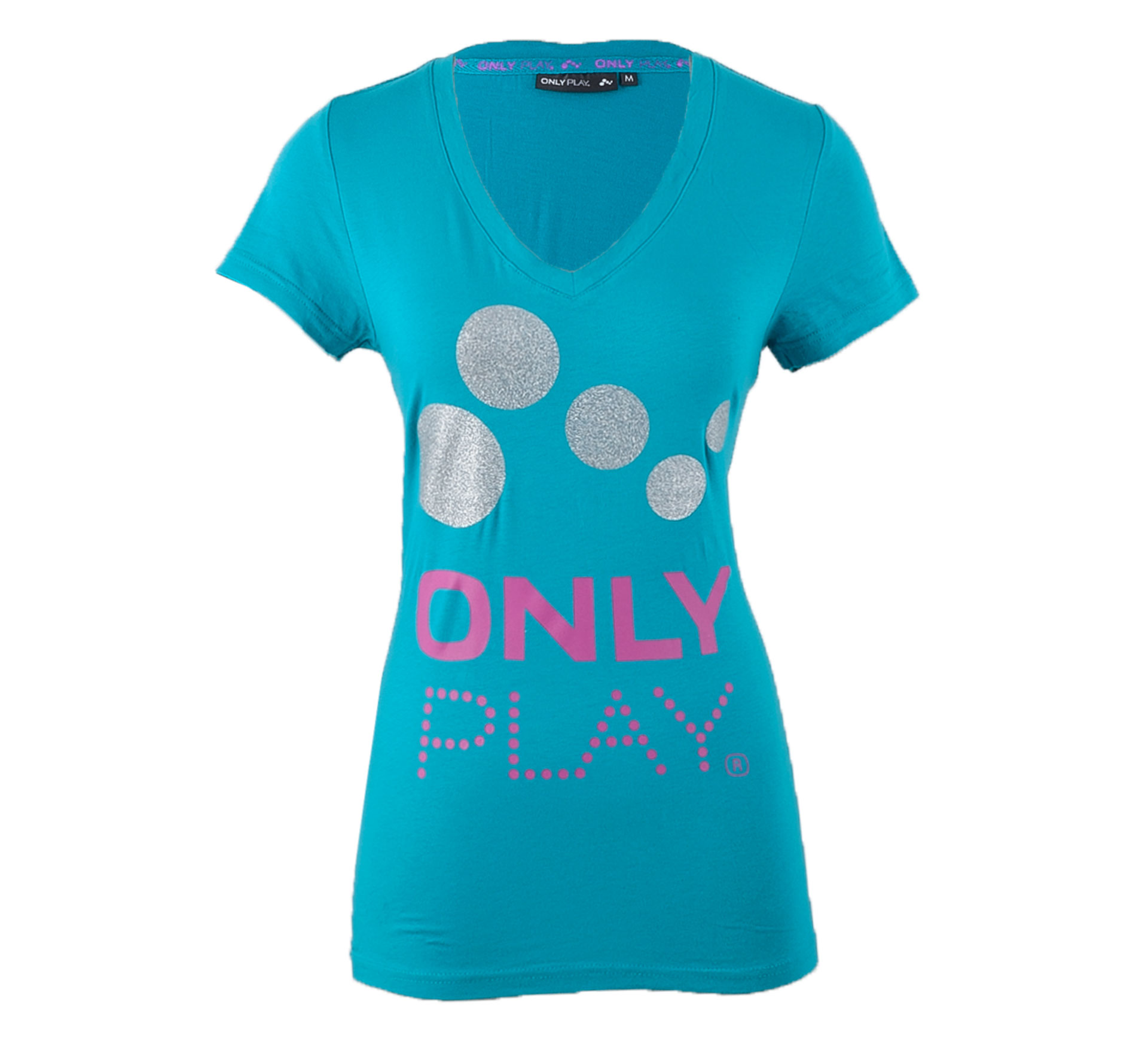 Only Play Eames T-shirt Dames blauw - roze - zilver