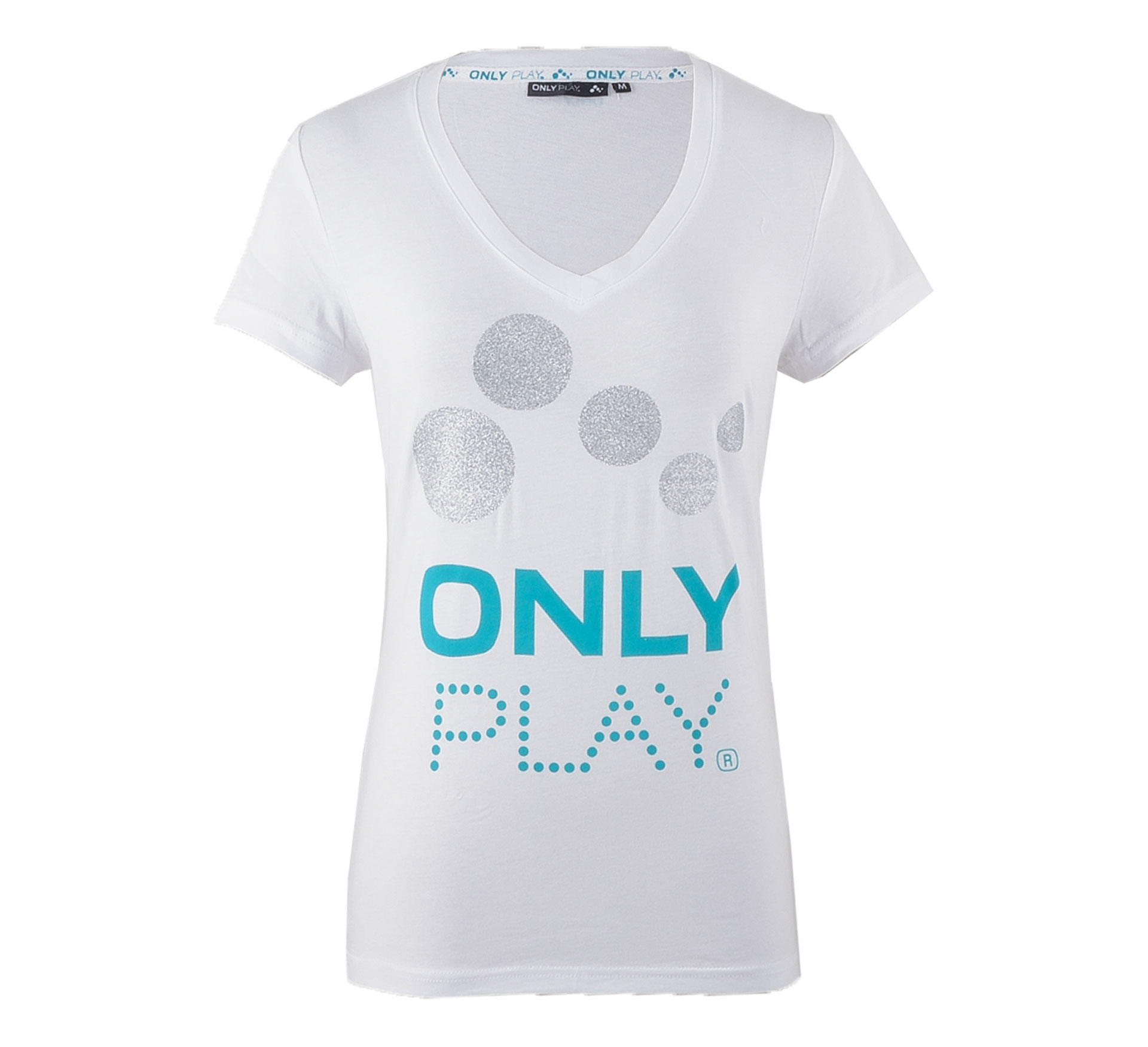 Only Play Eames T-shirt Dames wit - blauw - zilver