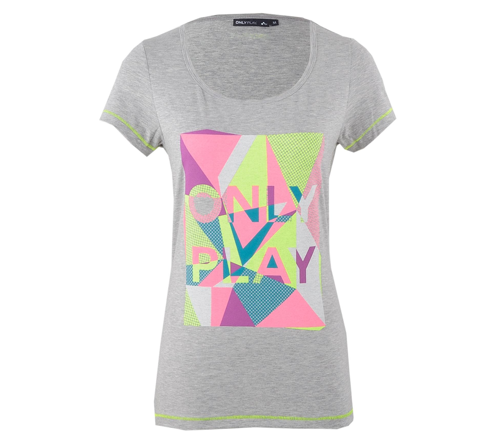 Only Play  Elle Logo T-shirt Dames grijs - geel - roze
