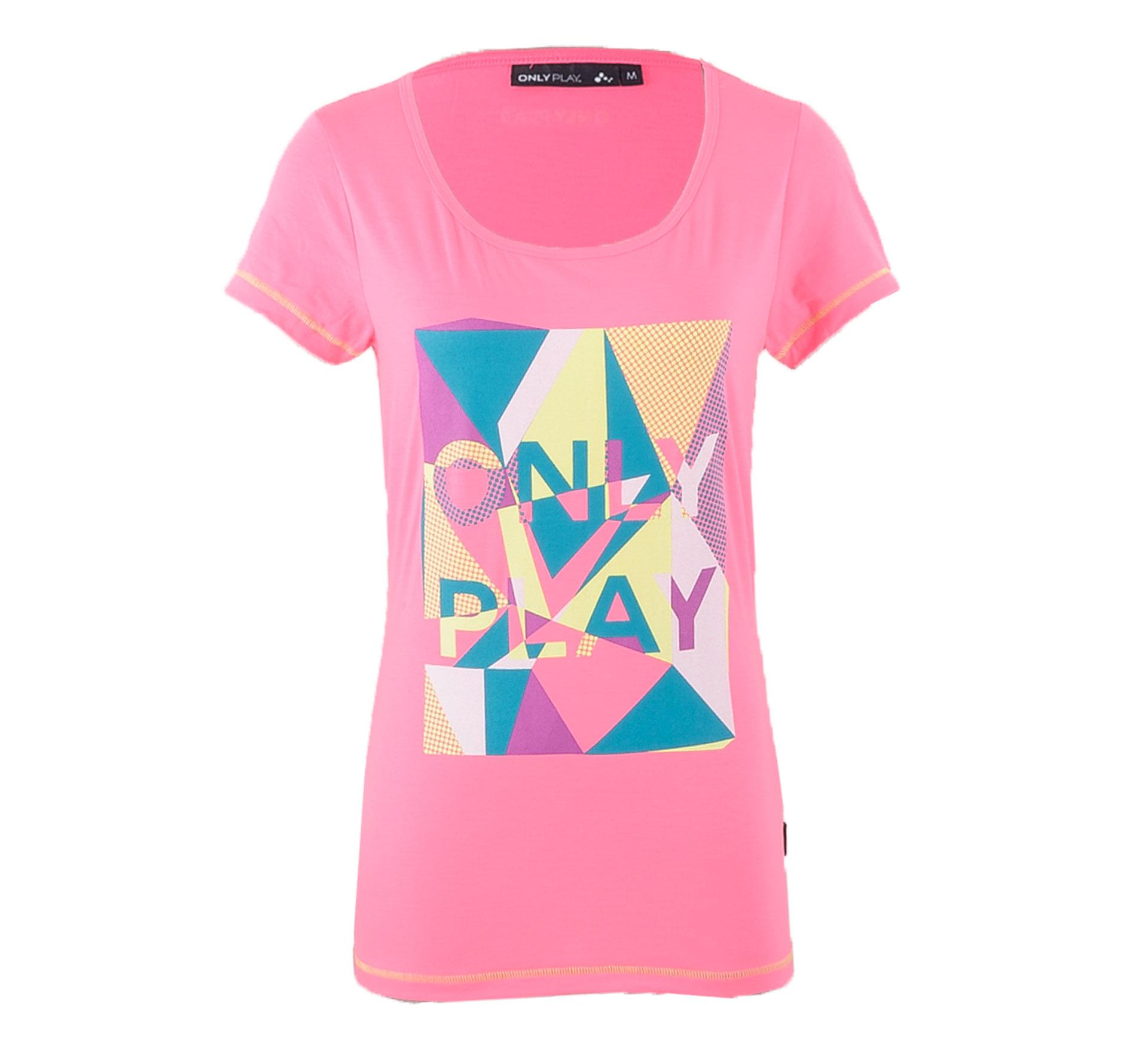 Only Play  Elle Logo T-shirt Dames roze - geel - groen