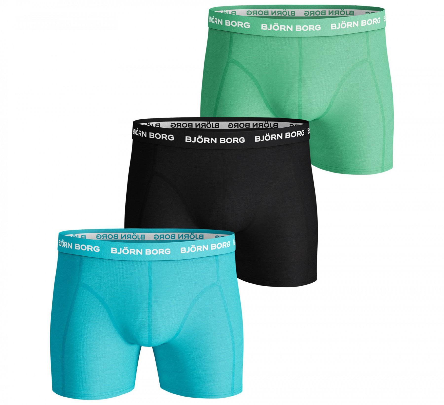 Björn Borg Seasonal Solids boxershort 3-pack heren blauw/groen