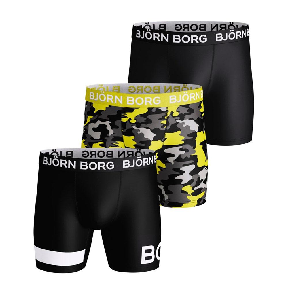 Björn Borg Bootcamp Performance boxershorts 3-pack heren zwart/geel/camo