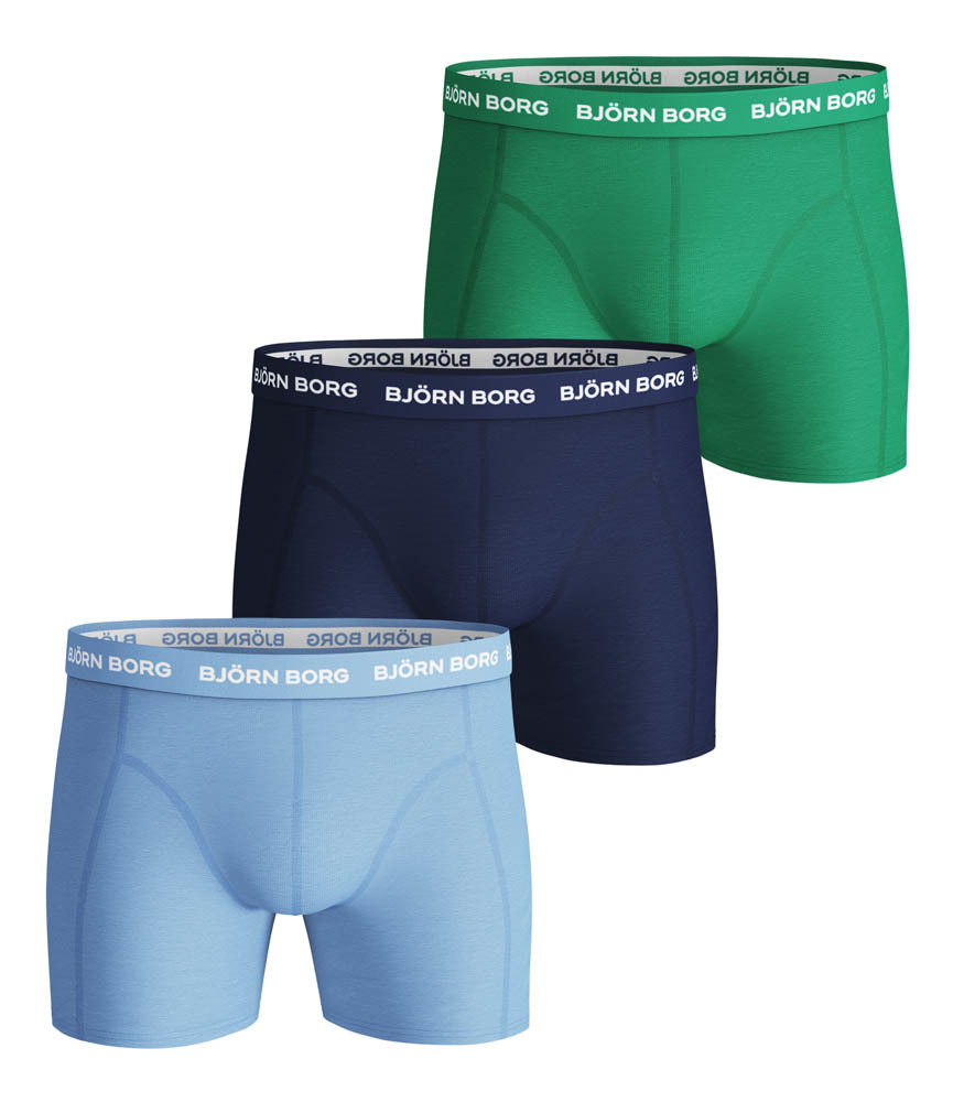 Björn Borg Sammy Seasonal Solid boxershorts 3-pack heren blauw/groen