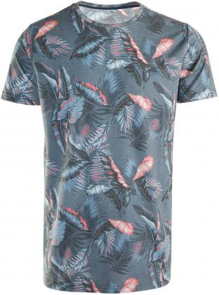 Brunotti Leaf shirt heren blauw/koraal