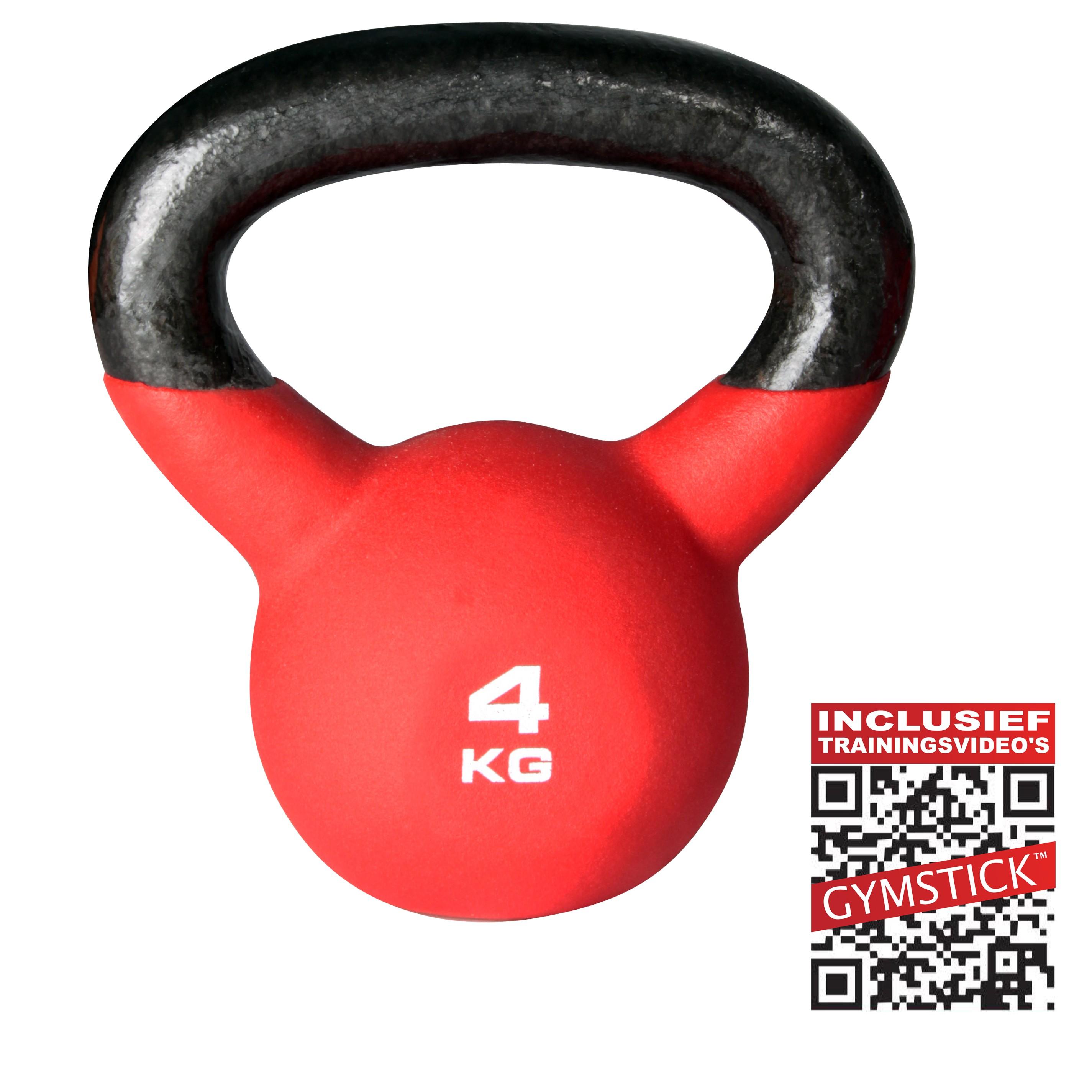 Gymstick Kettlebell Pro 4 kg Neopreen Met Trainingsvideo's