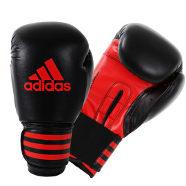 Adidas  Power 100 (Kick)Bokshandschoenen - Zwart/Rood_14 oz