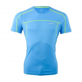 Craft  Devotion SS Shirt blauw - geel