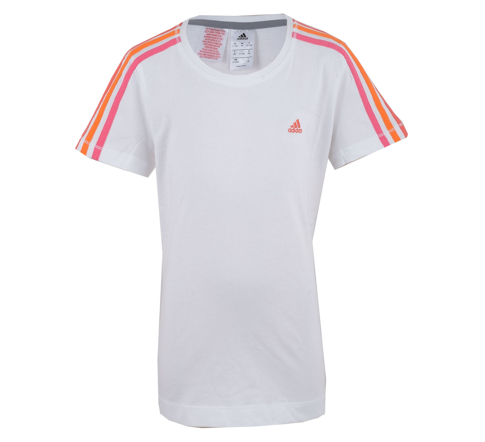 Adidas  Essentials T-shirt Junior wit - roze - oranje