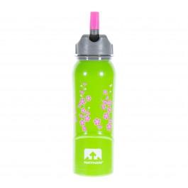 Nathan  Steel Bottle (700ml) groen - roze - grijs