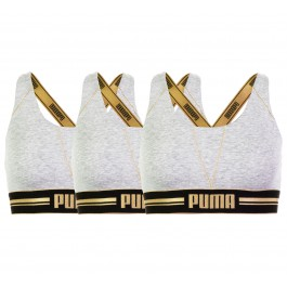 Puma Gold Logo Cross Back (3-pack) W grijs - goud