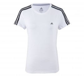 Adidas Essentials 3Stripe T-shirt Dames wit - zwart