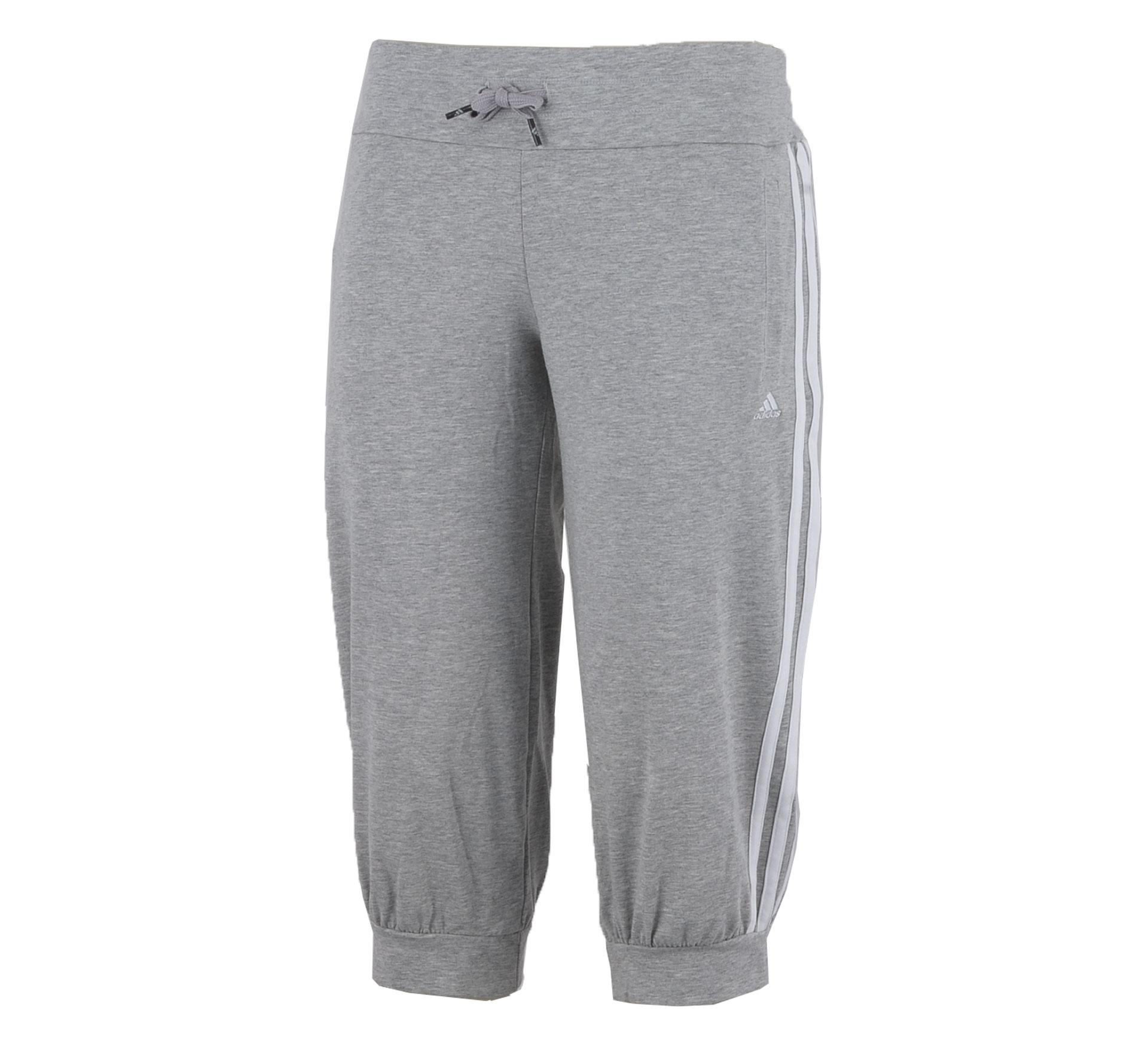 Adidas  Essentials 3Stripe 3/4 Broek Dames grijs - wit