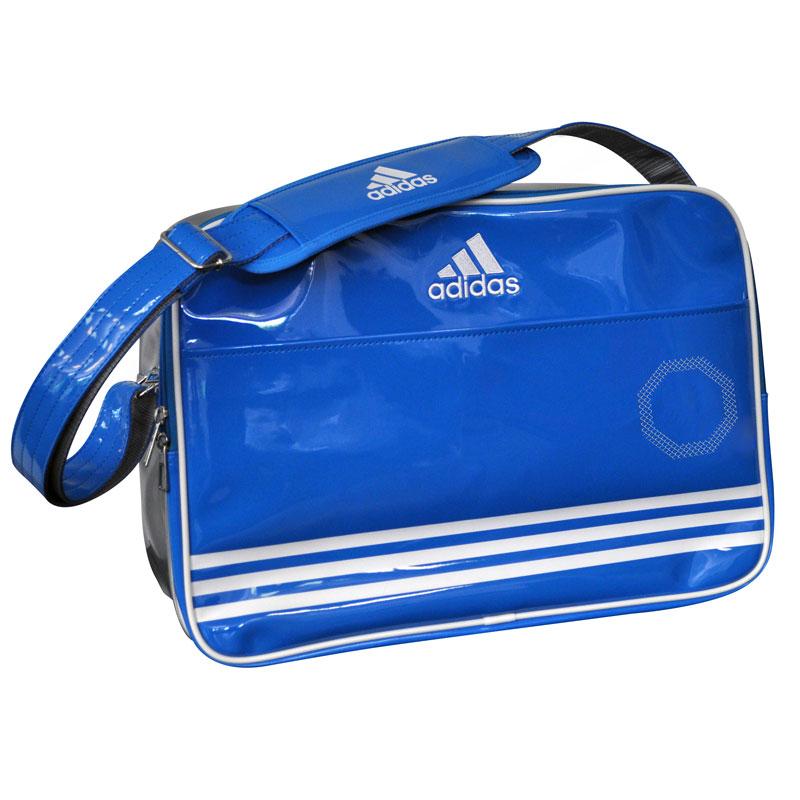 Adidas Shiny Sporttas - Blauw/Wit/Zilver