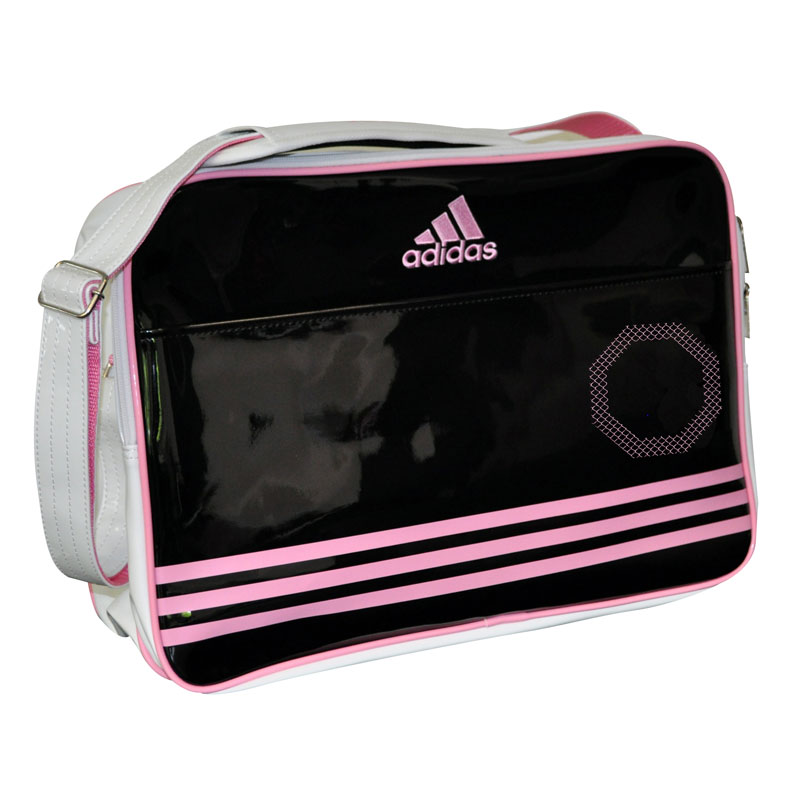 Adidas Shiny Sporttas - Wit/Zwart/Roze