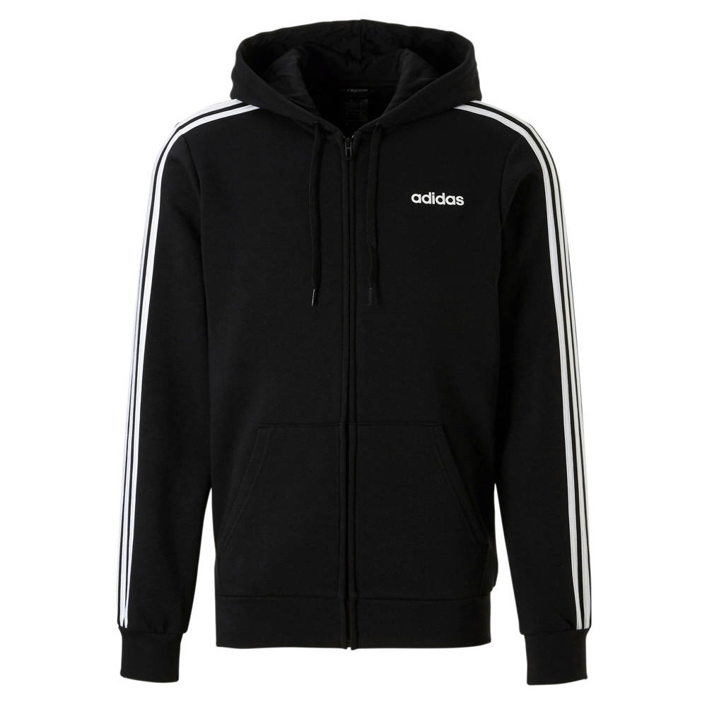 adidas Essential 3 Stripes Fleece vest heren zwart/wit