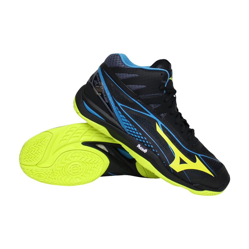 Mizuno Wave Mirage 2.1 fitnessschoenen heren zwart/lime/blauw