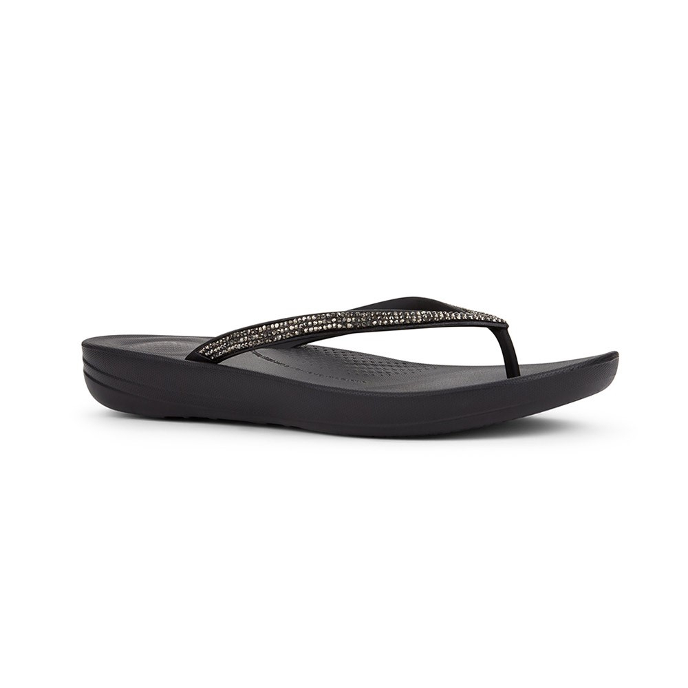 FitFlop Iqushion Sparkle teenslippers dames zwart/zilver