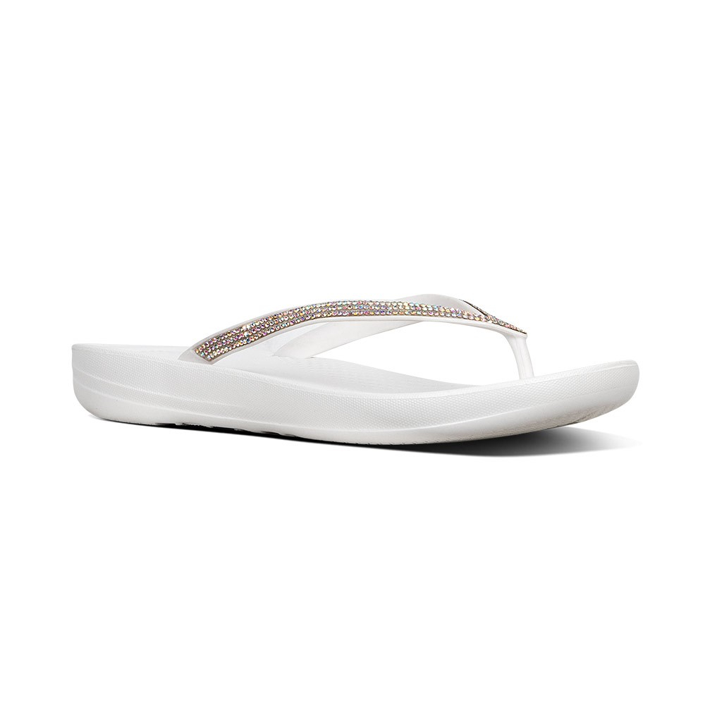 FitFlop Iqushion Sparkle teenslippers dames wit/zilver