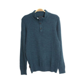 Twinlife Halfzip/Button sweater heren donker petrol