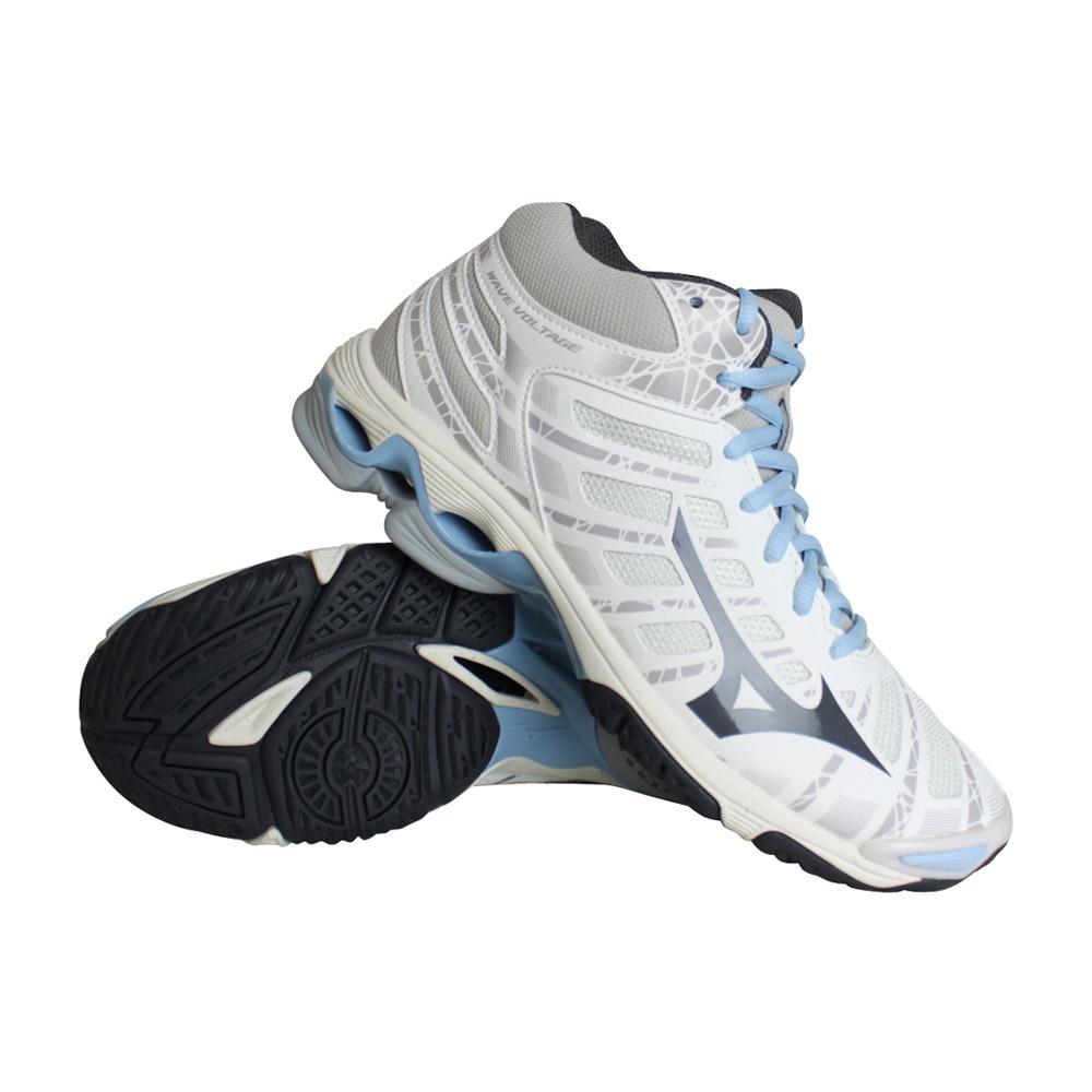 Mizuno Wave Voltage MID indoorschoenen dames wit/blauw