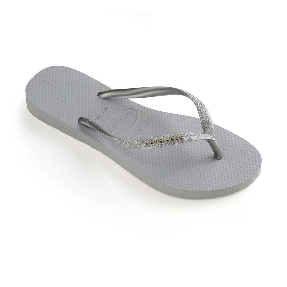 Havaianas Slim Glitter teenslippers dames grijs zilver